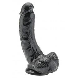 Czarne grube realistyczne dildo z jądrami - 23 cm