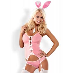 Kostium różowy króliczek 4-częściowy - S/M