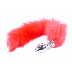 Korek analny z czerwoną lisią kitką - 45 cm