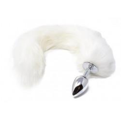 Korek analny z białą lisią kitką - 45 cm