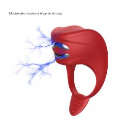Czerwony pierścień z wibracjami i funkcją elektrostymulacji