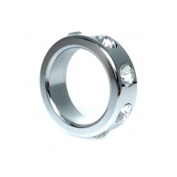 Pierścień-Metal Cock Ring with Cristal Diamonds Small