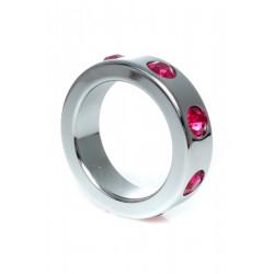 Pierścień-Metal Cock Ring with Pink Diamonds Medium