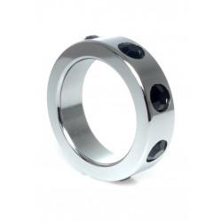 Pierścień-Metal Cock Ring with Black Diamonds Medium